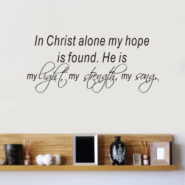 Bible Verses Wall Decal Quote In Christ Alone My Hope Is Found Vinyl  Stickers Home Bedroom