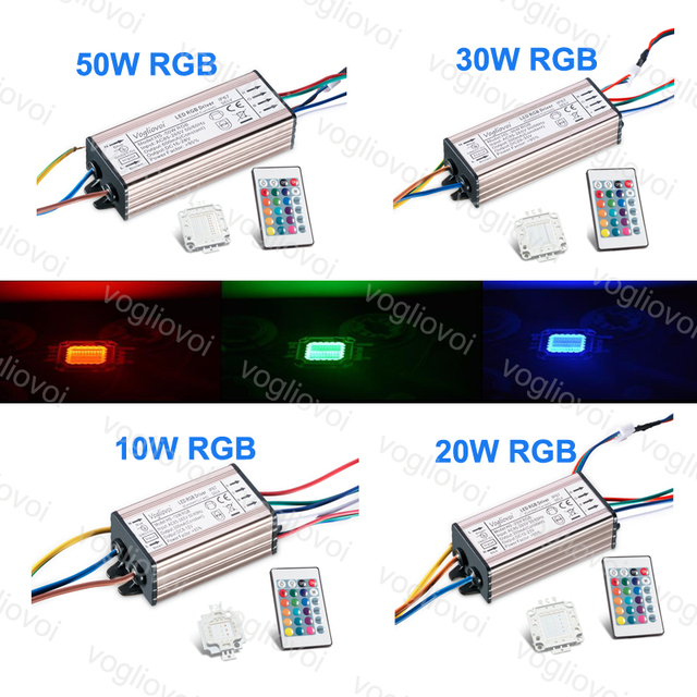 Vogliovoi RGB LED Driver 110V 220V 10W 20W 30W 50W IP65 Aluminum Silvery Driver With RGB 30MIL LED Chip 24key controller