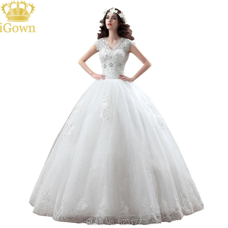 Cheap Wedding Dress Ivory Color V Neck Plus Size Wedding