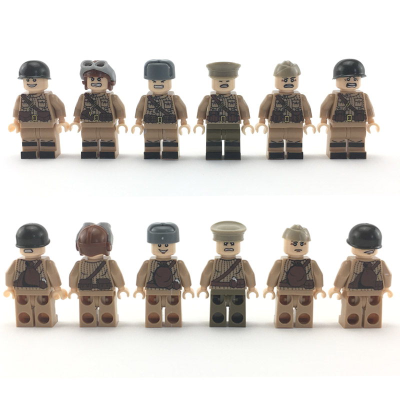 6pcs World War 2 Soviet army Army Soldiers Counterattack Building Blocks Militar