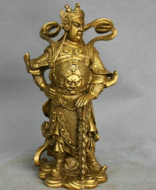 10'' China Bronze Warrior Door Guardian Protector General Qin Qiong Brass Statue