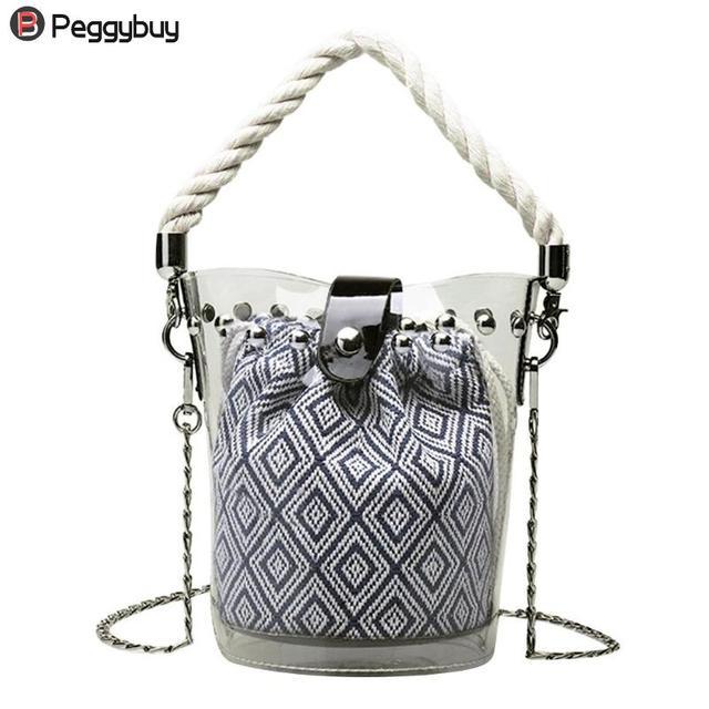 2efad3676af4 Fashion Women PVC Handbag Round Mini Transparent Bucket Composite  Convenient Bag Rivet for Beach Small All-match Handbag