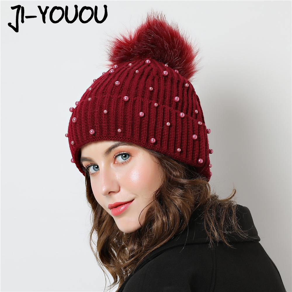 2018 New Caps with pompom fur hat gorros skullies beanies winter beanie fur  ball hat Double layer design Thicker Women s cap 9f19e6a3b4e