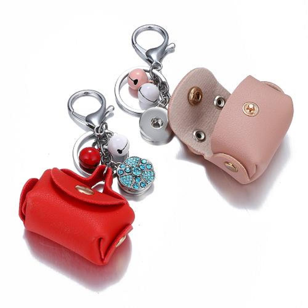 Jaynalee 7 Colors Leahter Snap Charm Keychain Jewelry Bag Fit 18mm Or 20mm Ginger Snaps For Women Handbag Gift Gjk8019