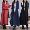 2016 Spring Autumn Slim Cotton Linen Trench Coat Loose Big Yards Casual Cardigan Long Outerwear RM-60
