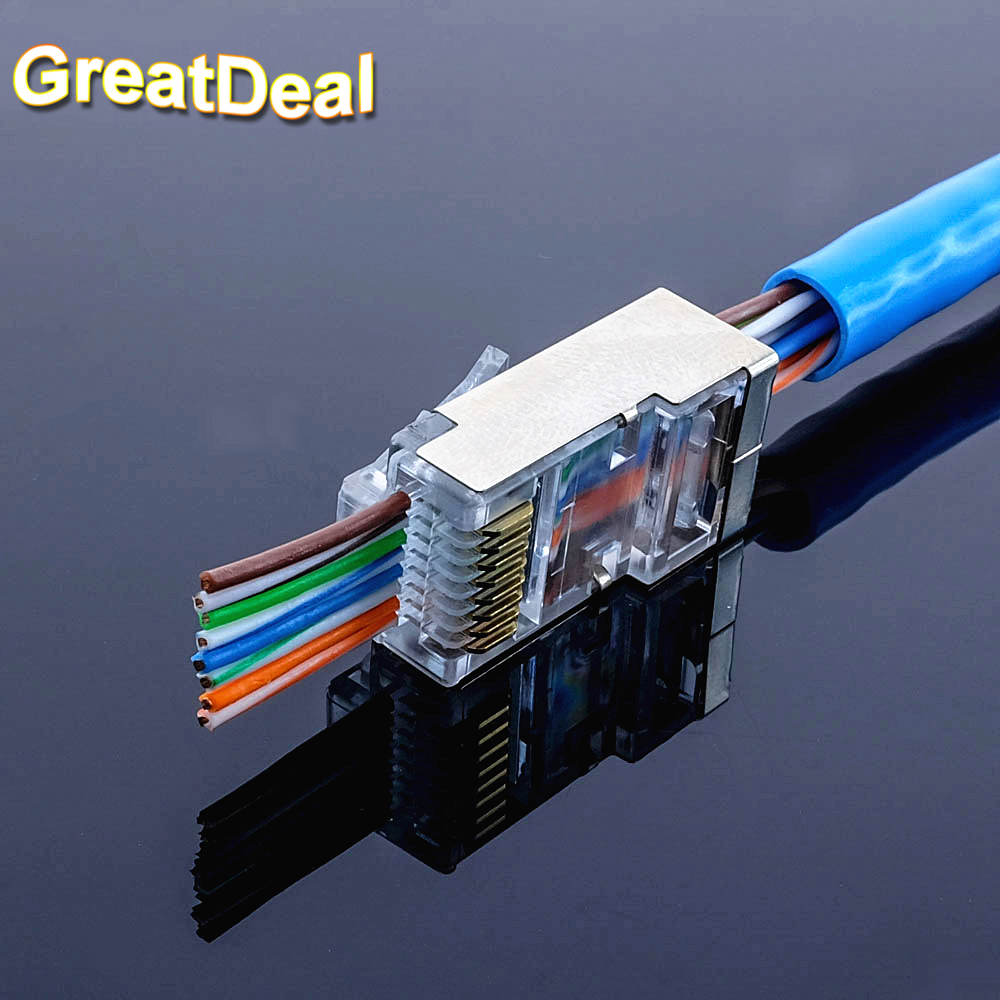 50pcs rj45 connector Cat5 cat5e network connector 8P8C metal shielded modular EZ rj45 plug terminals have hole HY1550 2016 new 30 pcs metal shielded 8p8c rj45 plug network connectors w protective sleeve