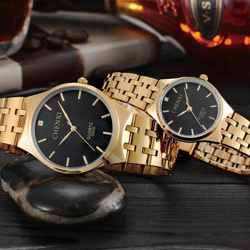 7ee7517238ea Pulsera de oro hombres y mujer reloj de marca de lujo relojes de cuarzo  para amante vestido de moda ...