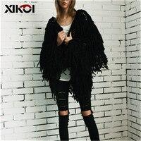 XIKOI шикарный теплый вязанный лохматый белый женский кардиган Мягкая Черная Женская куртка, пальто осенне-зимнее пальто из искусственного м...