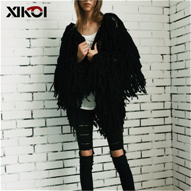 XIKOI Chic Warm Knitting Shaggy White Cardigan Women Sweater Soft Black Female Jacket Coat Autumn Winter Hairy Faux Fur Coat