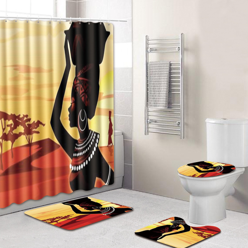 T 4 Piece African Woman Bath Mats Bathroom Shower Curtain And Rugs