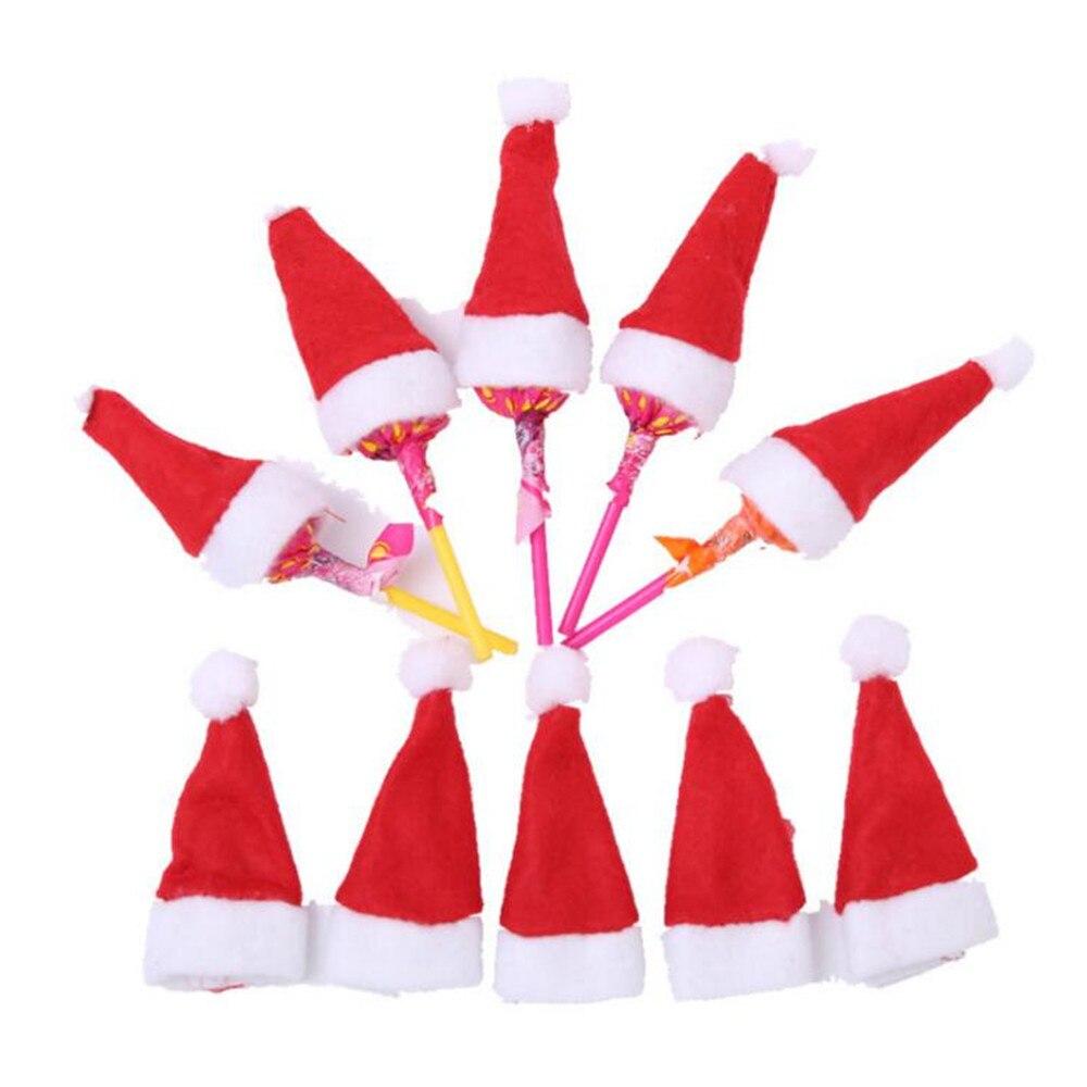 6 unids/lote dulces lolly Santa Claus sombreros gorro de decoración de vacaciones de Navidad lollipop despuntador superior cubrir decoraciones 40%