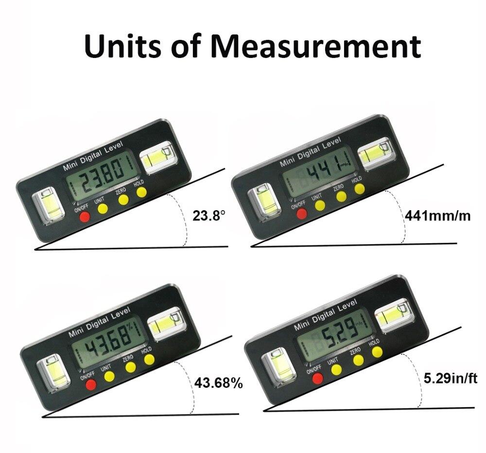 Détecteur d'angle numérique Rapporteur niveau électronique boîte 360 Degré inclinomètre numérique outil de mesure d'angle avec aimants Portable