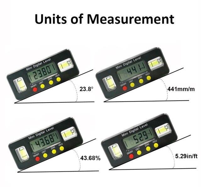Digitale hoekzoeker Gradenboog elektronische level box 360 Graden digitale inclinometer hoek meten met magneten Draagbare