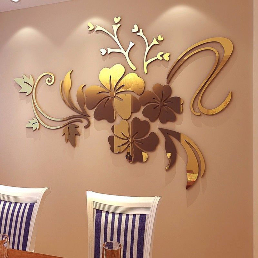 2colors 3d Mirror Floral Art Removable Wall Sticker Acrylic Mural Decal  Fashion Personalized Homemercial Space