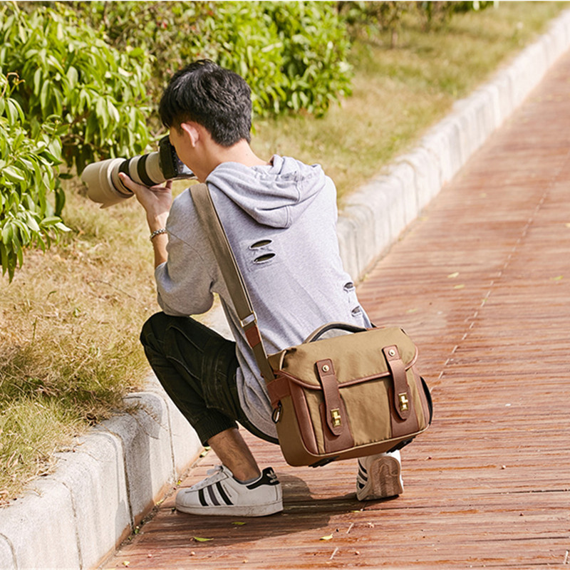 Waterproof Canvas Retro Camera Bag Men's Singles Shoulder Photography Messenger Video Bag for Canon/Nikon/Sony/Fujifilm DSLR цена