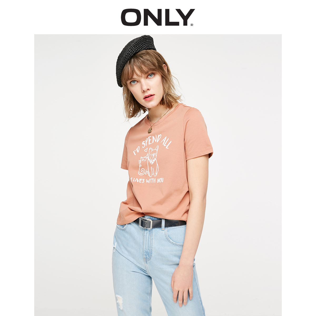ONLY Women's Cartoon Pattern Loose Fit Round Neckline Short-sleeved T-shirt 119101636