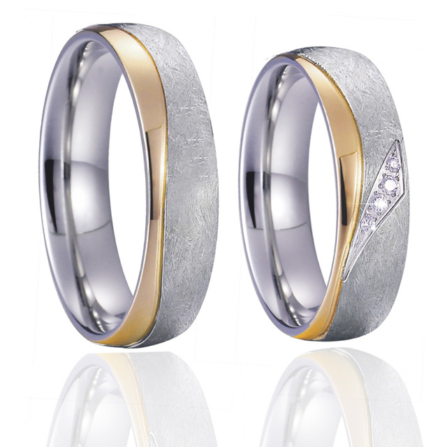 Unique Anniversary wedding band couple ring men gold silver color fashion Jewelry alliances engagment rings for women