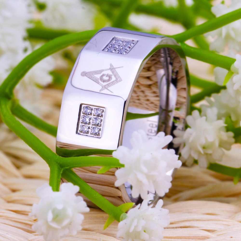 YGK ยี่ห้อ 10 มิลลิเมตรความกว้าง Master Masonic Silver เคลือบ 316 สแตนเลสแหวน Cz แหวนฟรี Gifted กล่อง
