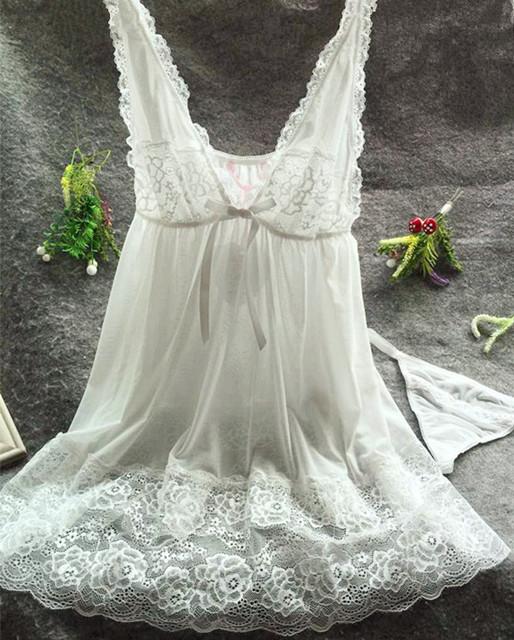 M305 yomrzl Moda hot-selling fresco camisola tentação fêmea transparente de renda sexy sleepwear alcinhas Com Decote Em V