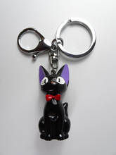 2019 lovely Men And Women Key Chain Black Cat keychain Anime Kiki Resin Action Figures Collection Kids Ring Gifts
