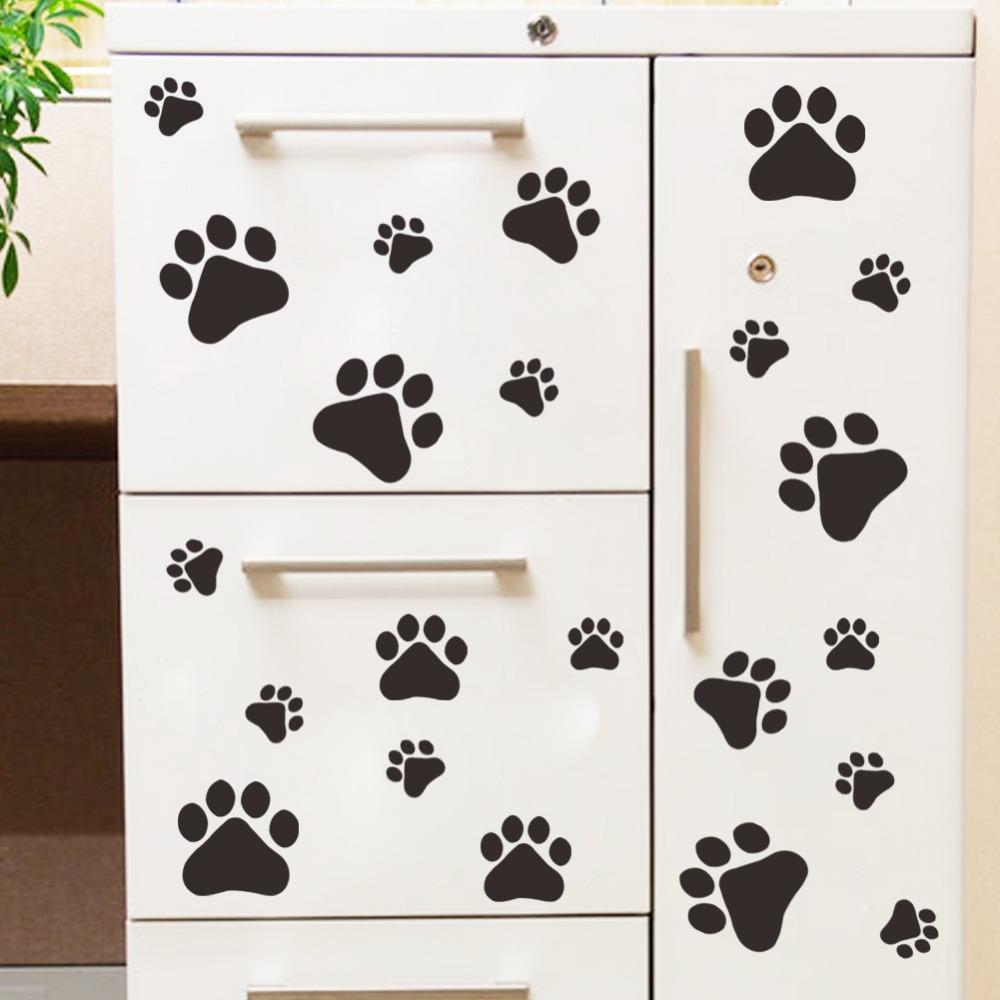 Lustige hund katze pfotenabdruck poster für kinderzimmer home aufkleber wandaufkleber diy schranktür futternapf küche bowl auto