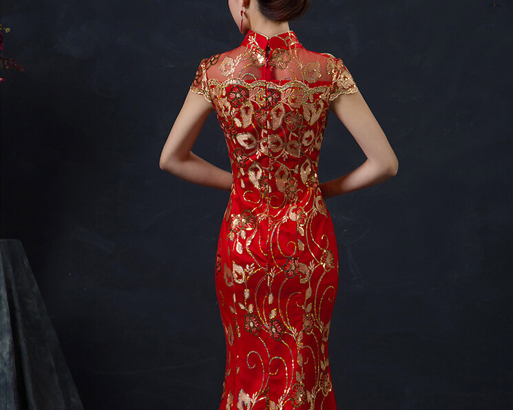 Qırmızı Çin Toy Geyimi Qadın Uzun Qısa Qollu Cheongsam Qızıl - Milli geyimlər - Fotoqrafiya 3
