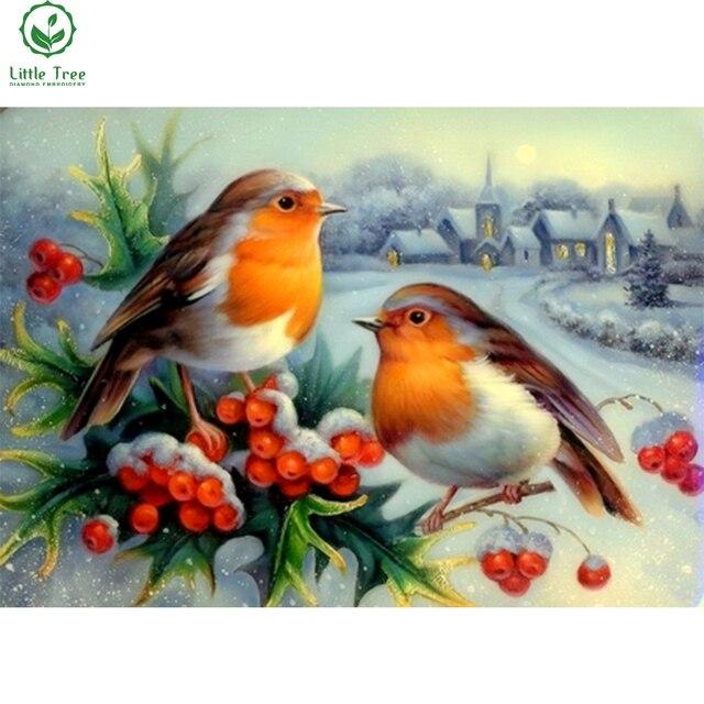 5d горный хрусталь вышивка зима радость птицы новый год праздник украшения дома картины полный мозаика комплекты вышивки крестом стикер стены