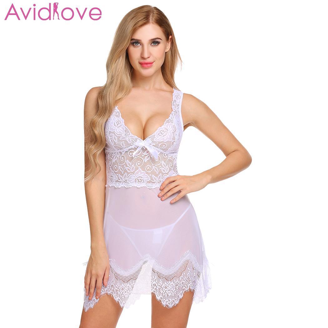 Buy Avidlove Women Christmas Sexy Lingerie Sexy Underwear Transparent Babydoll Erotic Costumes Lace V-Neck Sleepwear Mesh Chemise Se