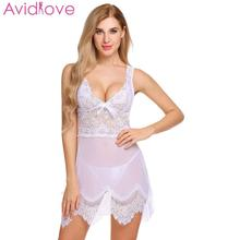 Avidlove Women Christmas Sexy Lingerie Sexy Underwear Transparent Babydoll  Erotic Costumes Lace V-Neck Sleepwear 7139ea534