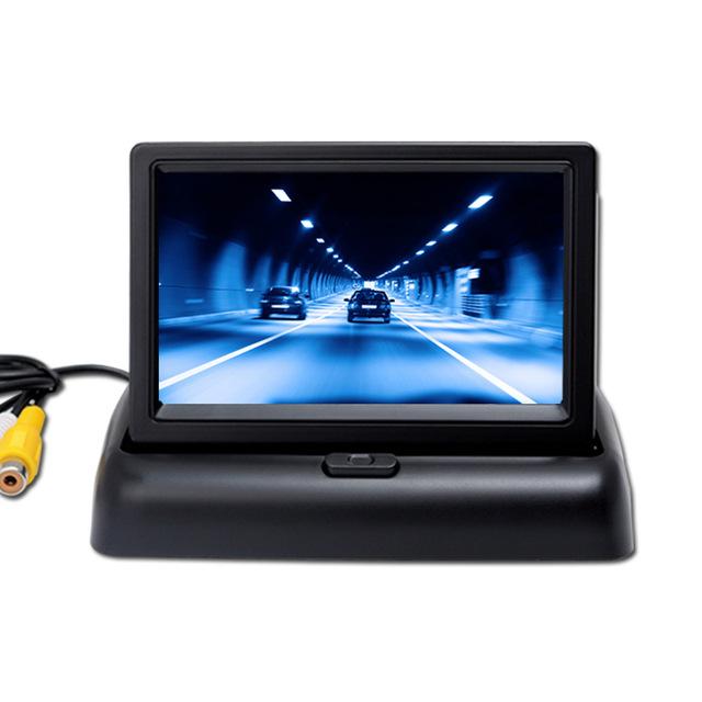 Mejor precio nuevos productos 4.3 pulgadas de pantalla plegable, entrada de tensión de ancho de dos HD cámara de visión trasera del coche que invierte la pantalla.
