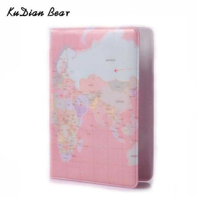 KUDIAN медведь карта мира паспорт Обложка на паспорт кошелек женский Обложка для паспорта защитный Pochette Passeport BIY003 PM20