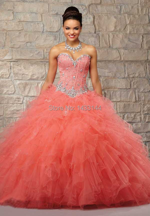 Coral Pink Sweet 16 Dresses