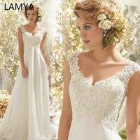 LAMYA Wedding Dress 2019 Beach Bridal Gown Chiffon Lace Appliques Wedding Dresses White/Lvory Backless Vestido De Noiva