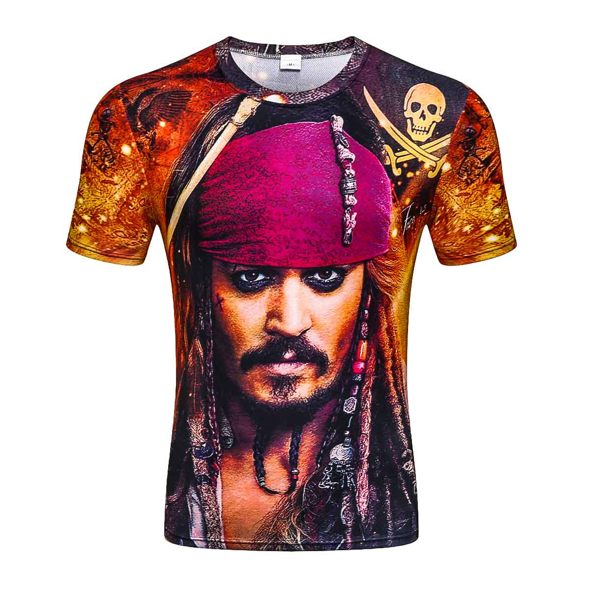 Summer New 3D Pirates of the Caribbean Mens Short Sleeve T-shirt 3DT Shirts High Quality Brand Clothing