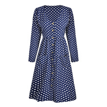 Autumn Deep V Neck Dot Printed Dress Women Casual Loose Sexy Dresses Long Sleeve Button Dress