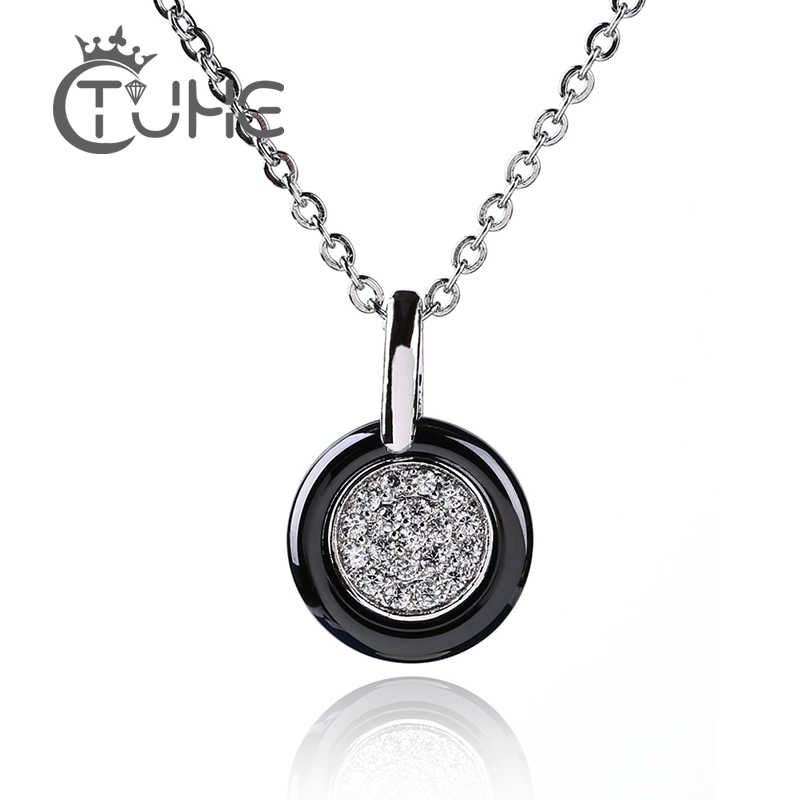 2019 Rhinestone Circle Necklaces & Pendants For Women 1.2cm Width Ceramic Necklace Jewelry Wedding Party Birthday Gift Wholesale