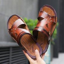 Модная пляжная Мужская обувь; сандалии из искусственной кожи; шлепанцы; Мужская обувь; мужские тапочки; сезон весна-лето; мужские сандалии на плоской подошве; размер 42