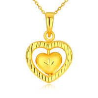 Solid 24K Yellow Gold Heart Pendant Women 999 Gold Pendant