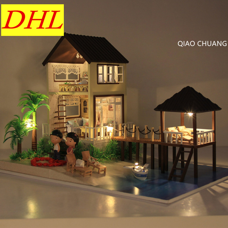 Romance Maldives Diy Production Wood House Creative Bricolage Model Educational Toys Decoration Refinement Birthday Gift L464 diy doll house villa model include dust cover and furniture miniature 3d puzzle wooden dollhouse creative birthday gifts toys