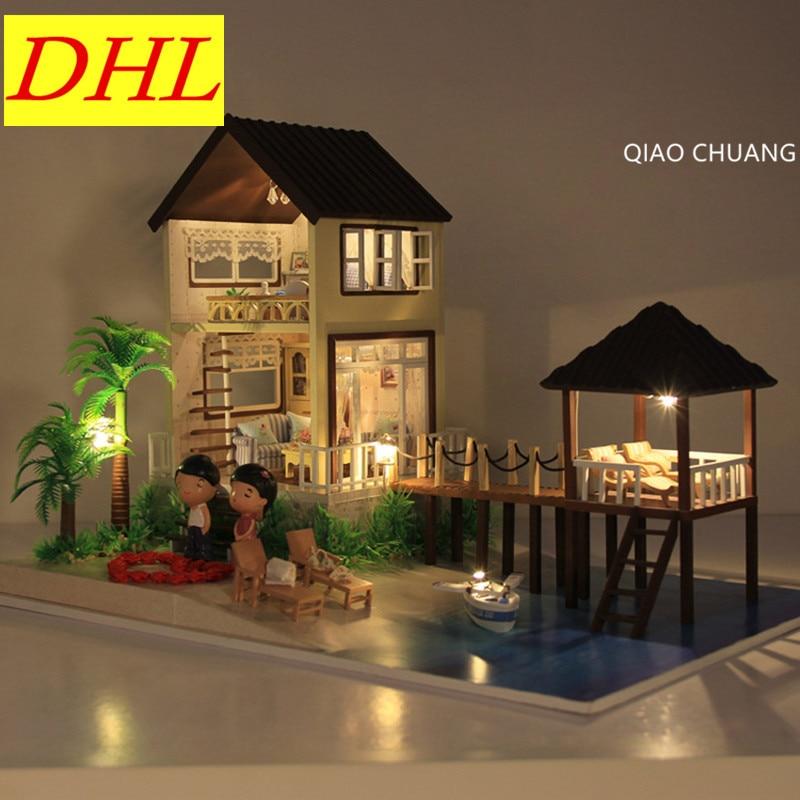 Romance Maldives Diy Production Wood House Creative Bricolage Model Educational Toys Decoration Refinement Birthday Gift L464