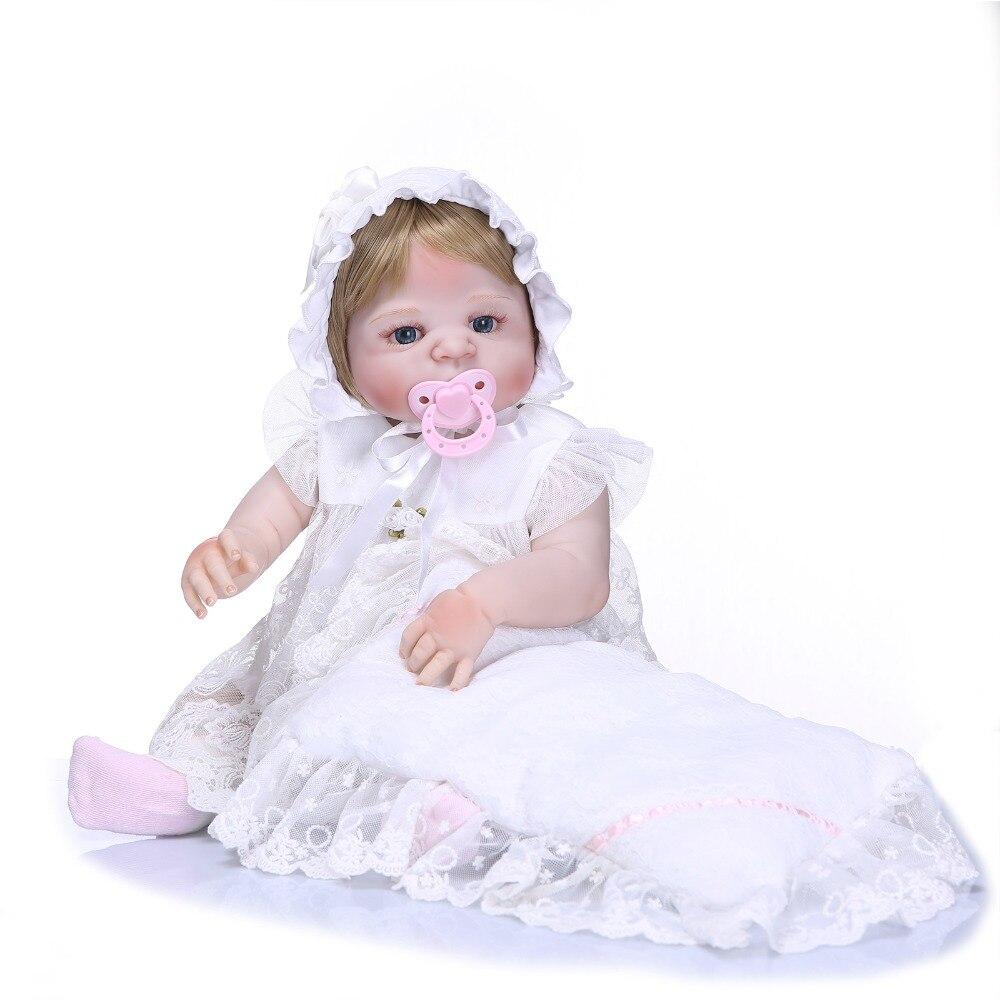 Nicery 22inch 55cm Bebe Reborn Doll Hard Silicone Boy Girl Toy Reborn Baby Doll Gift for Child White Dress Baby Doll nicery 22inch 55cm bebe reborn doll hard silicone boy girl toy reborn baby doll gift for children purple princess hat baby doll