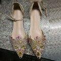 Большой размер 40 сияющий женщины кружева алмаз бисером мелкой рот плоским обуви новое поступление женский вырез ближний лодыжки ремень весной обувь