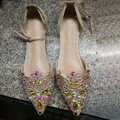 big size 40 shining women lace diamond beading shallow mouth flat shoe new arrival female cutout middle ankle strap spring shoes