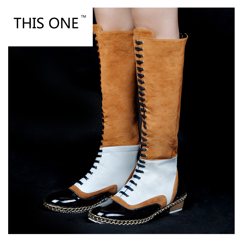 THIS ONE New Fashion Women Knee High Boots Elegant Round Toe Square Heel Boots Multi Colors Shoes Woman Plus Size 35-47 2017 new women boots square toe fashion knee high boots motorcycle sexy thick high heel boots woman shoes black plus size 34 42