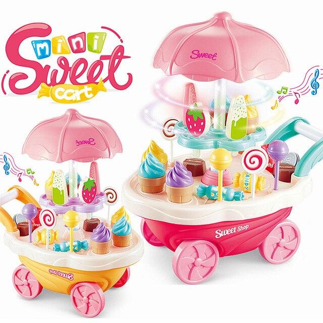 30pcs Mini Sweet Cart Pretend Play Ice Cream Sweet Shop Lighting Music  Children Educational Plastic Cosplay Kitchen Toys Set New