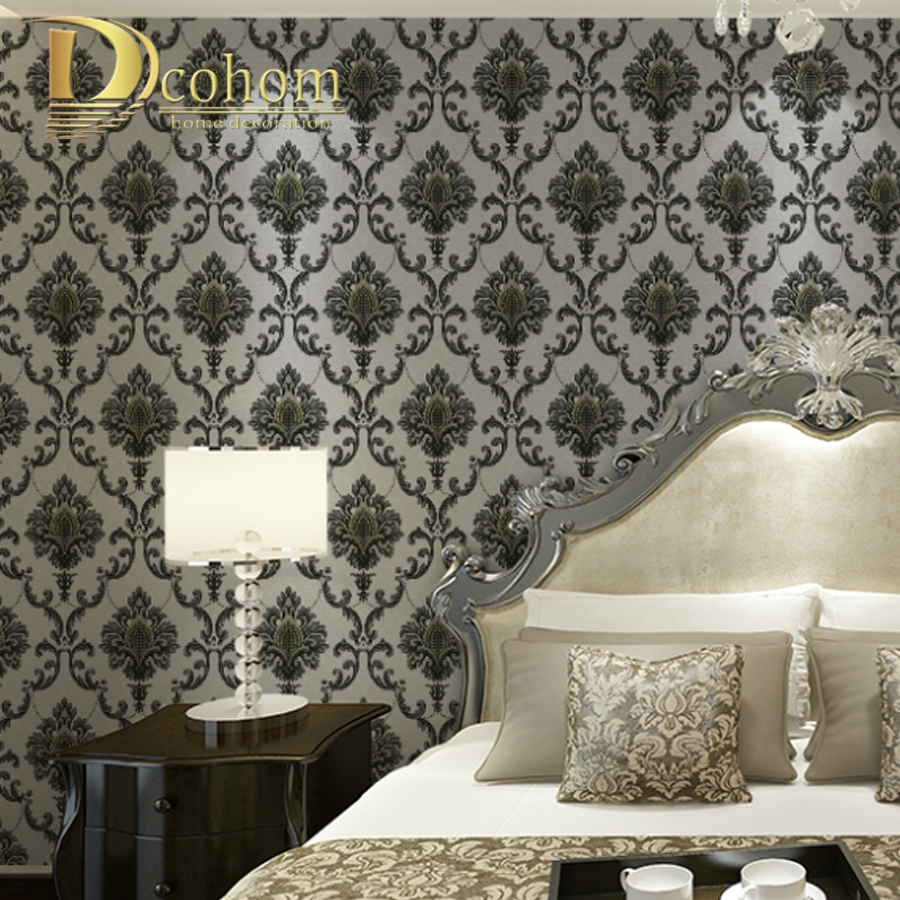 Waterproof 3D European Large Floral Damask Wallpaper For Walls Embossed Flower Textured Wall Coverings Rolls Grey,Black black and white damask wallpaper rolls velvet flocked textured victorian decor