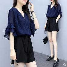 2019 Summer Korean Chiffon Black Blouse And Shorts Loose Casual V-neck Two Piece Set Fashion Ruffle Women 2 Piece Sets Outfits(China)