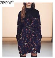 High End 2018 Новый Для женщин Демисезонный мини платье воротник бант с цветочным принтом женские с длинным рукавом Винтаж длинное платье C2663