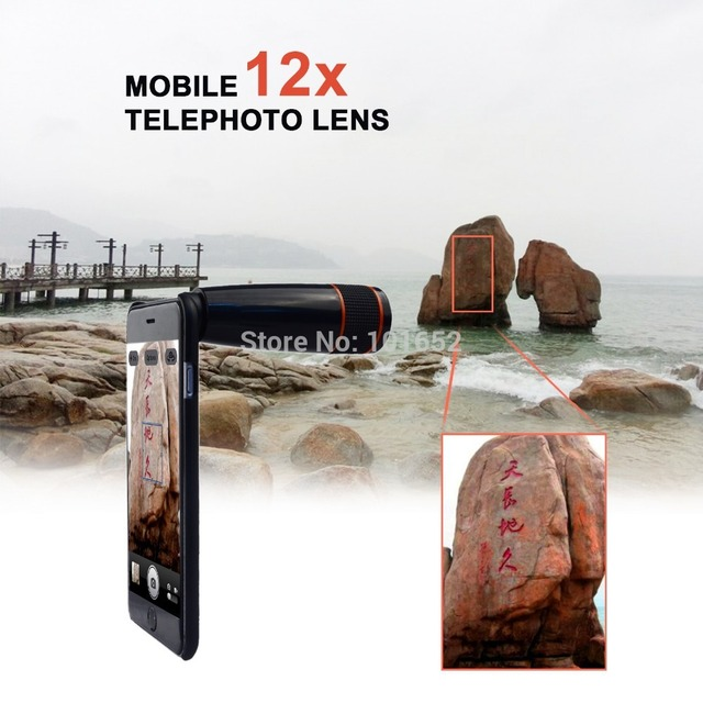 12x zoom óptico teleobjetivo telescopio de la lente lentes de cámara del teléfono móvil para iphone 6 s/6 s plus/5S/5/4/4S apl-12xsj