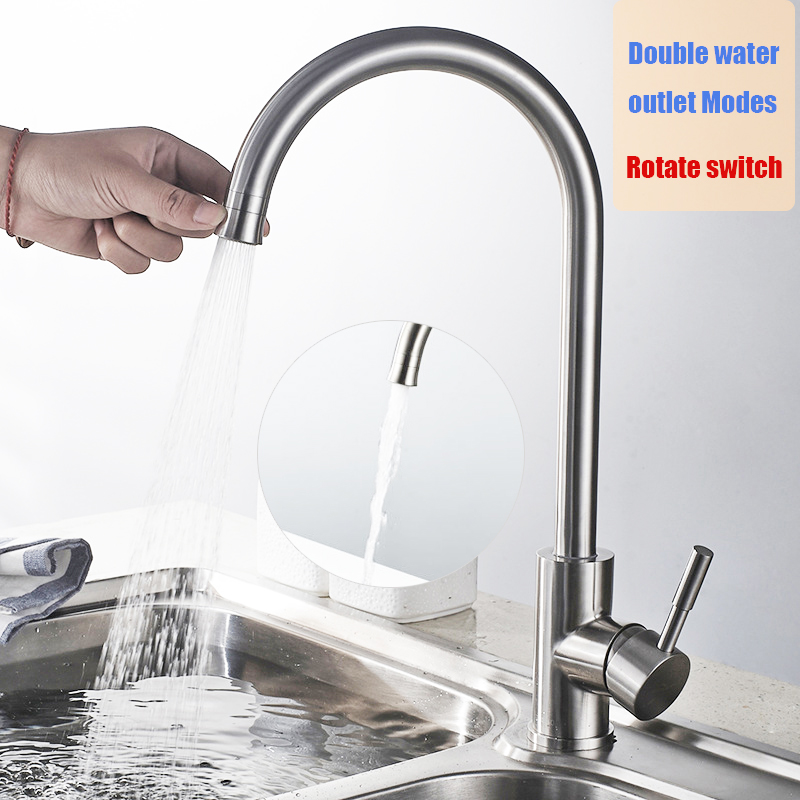 Double water outlet modes kitchen faucet stainless steel brushed Rotatable easy switch kitchen sink mixer water tap new design double bowl stainless steel kitchen sink with faucet tap evier fregadero de la cocina disipador lavello della cucina spoelbak ke